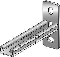 MQK-21 Galvanized bracket with a 21 mm high, single MQ strut channel for medium-duty indoor applications