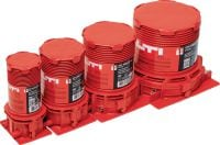 CP 680-P Cast-in firestop sleeve One-step firestop cast-in sleeve for plastic pipe penetrations through floors. Place it and forget it