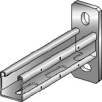 MQK-41 Galvanized bracket with a 41 mm high, single MQ strut channel for medium-duty applications